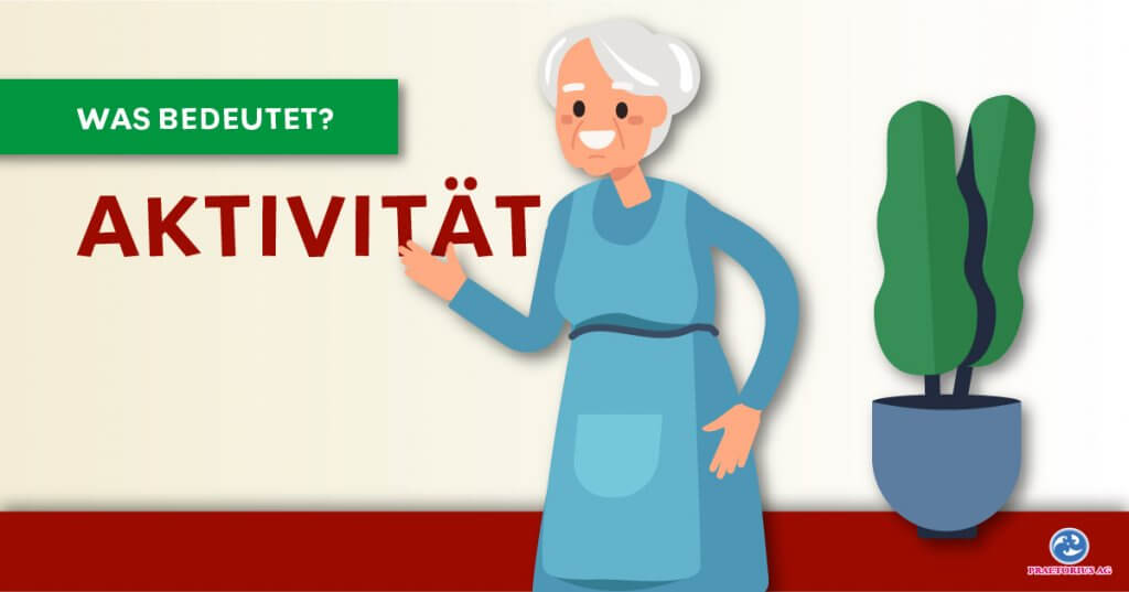 Älterer Frau lacht und ist glücklich, hinter ihr steht eine Topfpflanze. Titel, was bedeutet Aktivität?