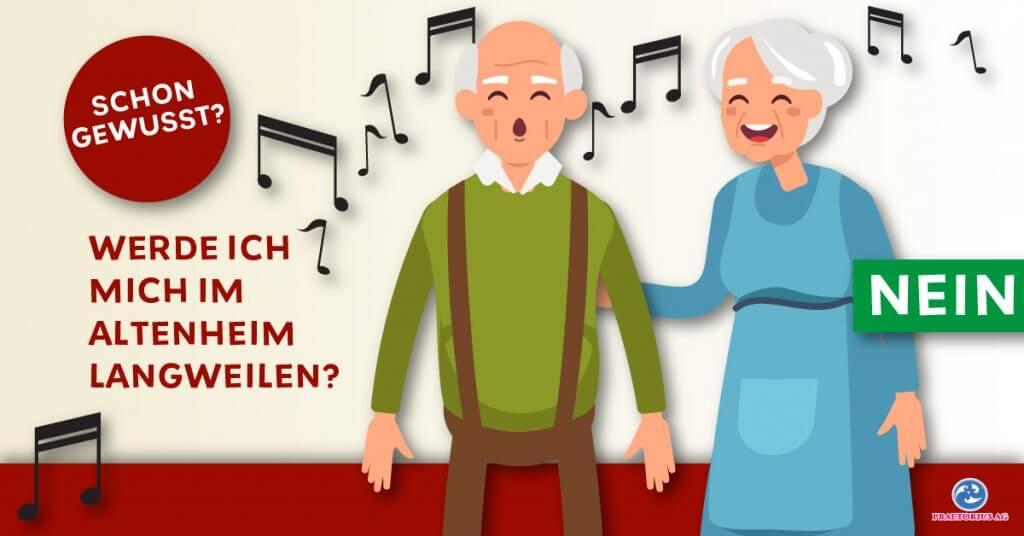 Zwei Altenheimbewohner singen zusammen